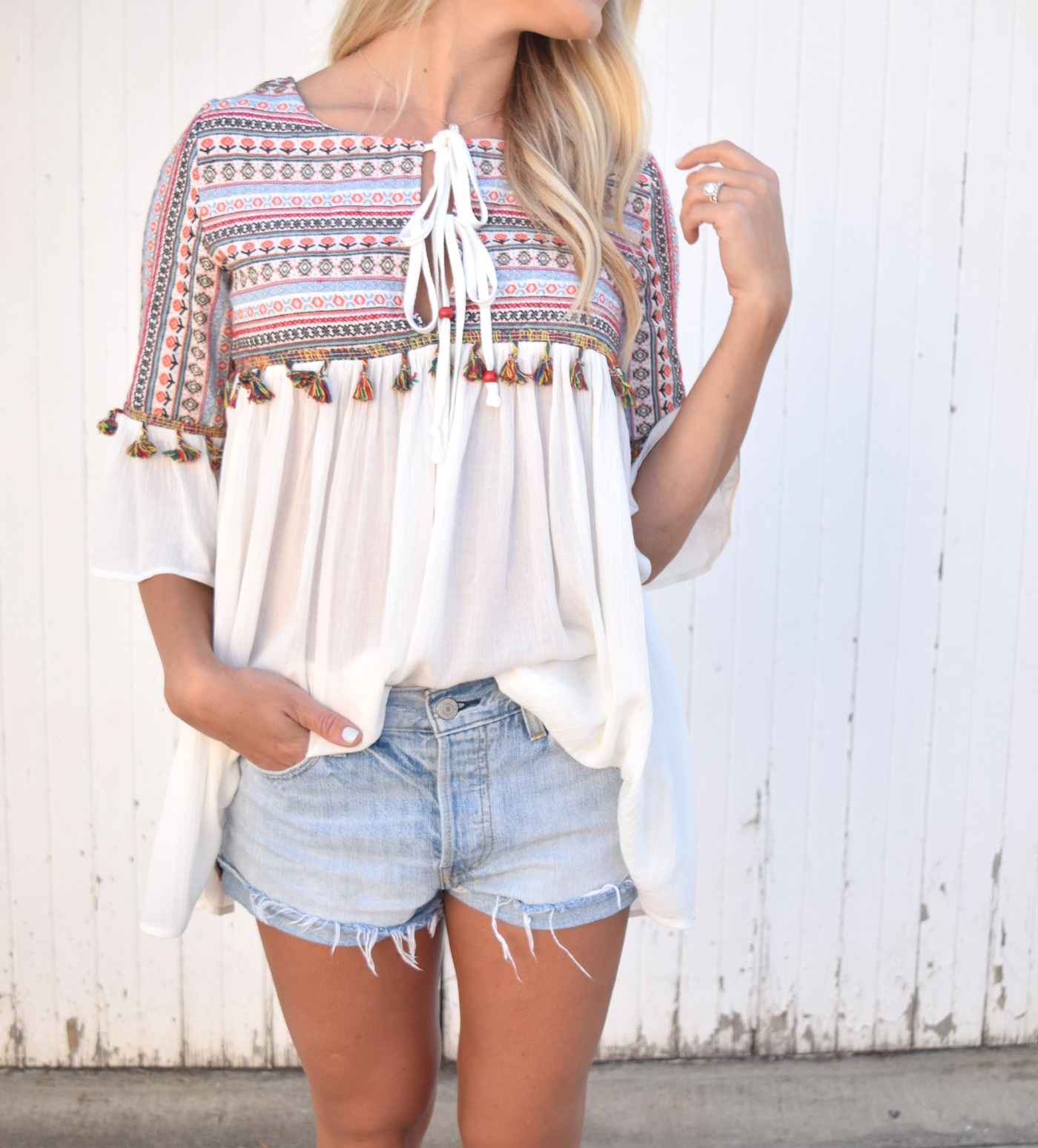 Embroidered Tassel Top from Make Me Chic