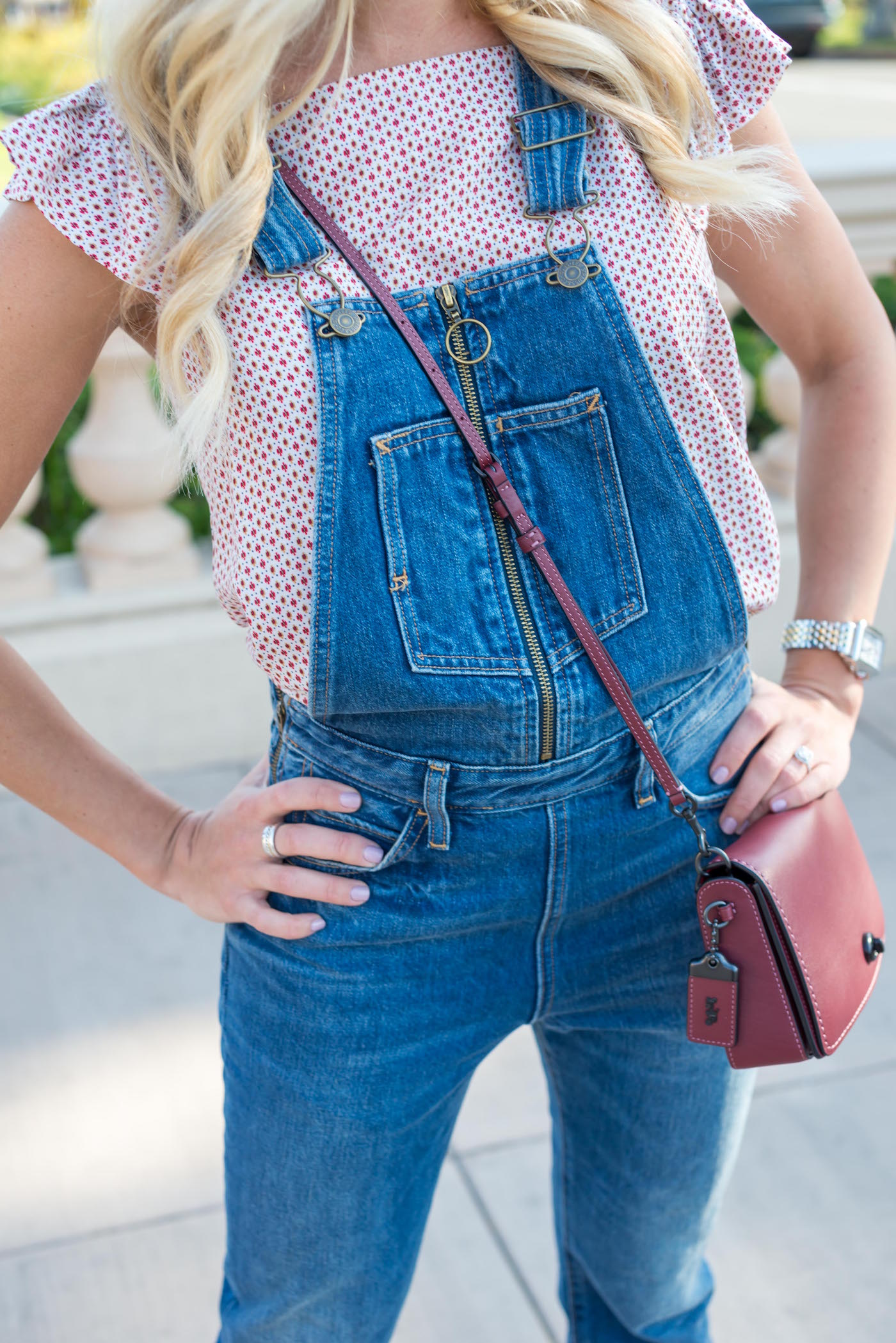 Levis Overalls with Little Apply Ruffle Blouse