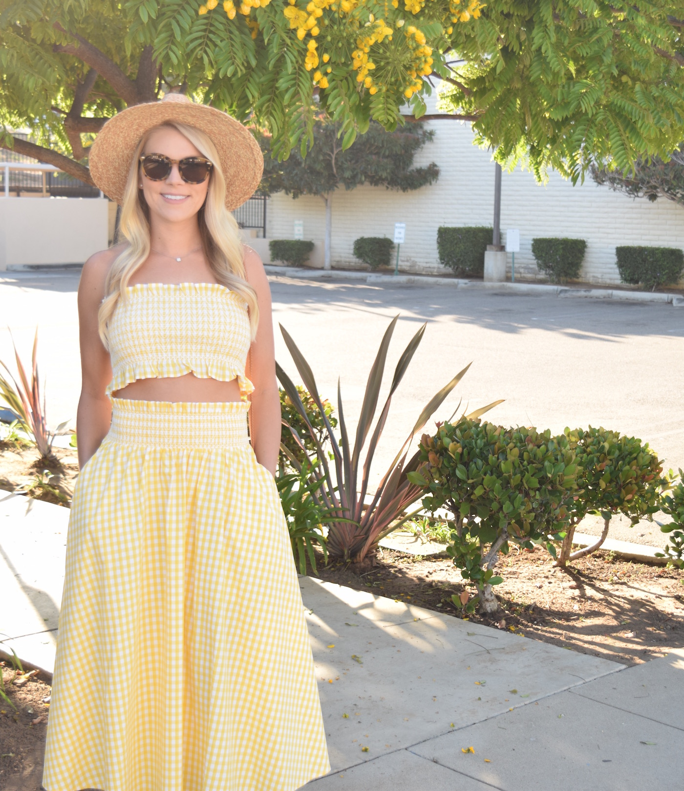 Yellow Gingham Crop Top and Midi Skirt from Zara