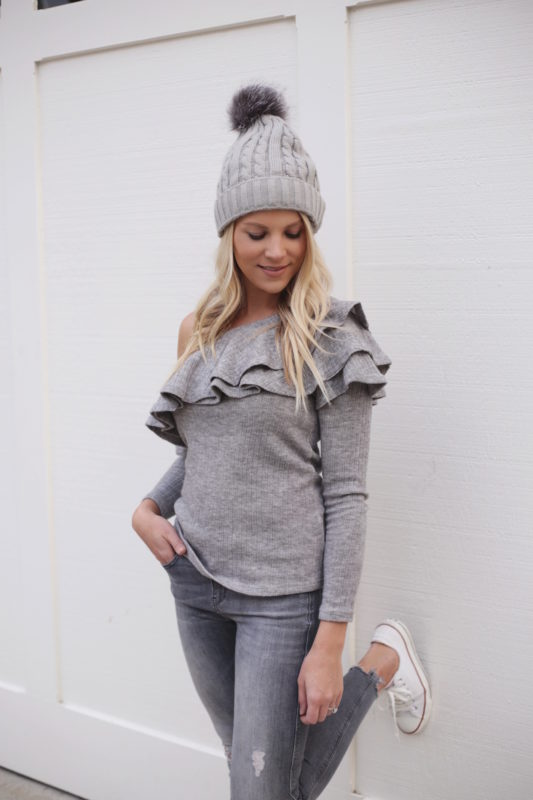 gray off the shoulder sweater