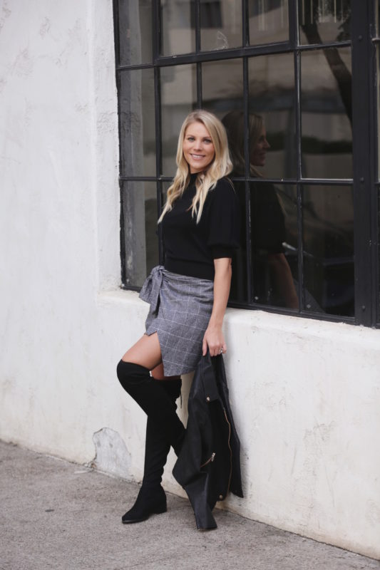 wrap skirt and over the knee boots