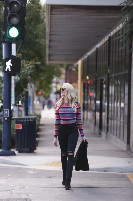 Colorful Striped Knit Top