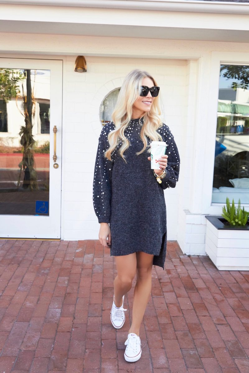 Pearl Embellished Sweater Dress
